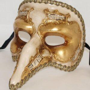 Venetiaans masker goud met muzieknoten