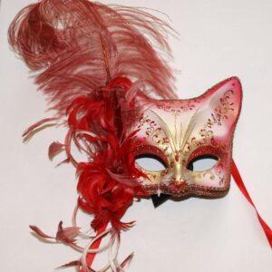 Venetiaans masker chatte rood/ veren
