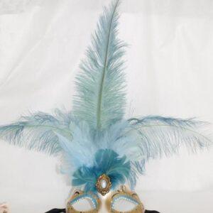 Venetiaans masker blauwe veren