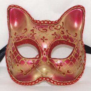 Venetiaans masker rood chatte klein