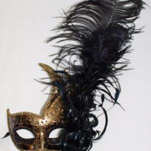Venetiaans Masker zwarte pluim