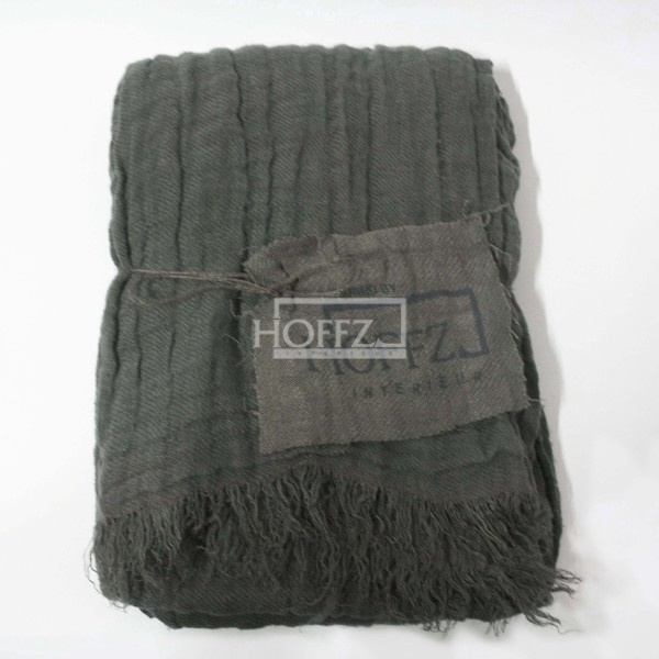 Hoffz plaid linnen grijs gekreukt 't Maaseiker Woonhuys
